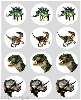 12 Dinosaur Theme Cupcake Decoration Edible Cake Toppers Pre Cut 40 mm T-Rex