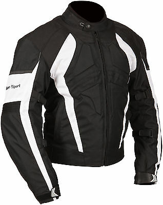 Milano Sport Gamma Black White Waterproof Textile Motorcycle Jacket RRP £89.99!!
