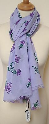 New 100% Cotton Women's Thistle Print On Purple Background Scarf By Juniper