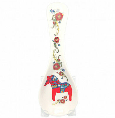 Ceramic Spoon Rest Swedish Red Dalarna Horse