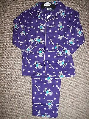 Bnwt Purple Minnie Mouse Girls Pyjamas 100% Cotton Cosy Ages 3-8 Yrs Gorgeous!
