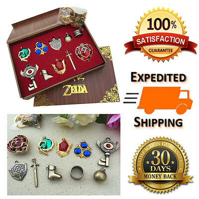 Legend of Zelda Jewelry Gift Box Set Necklace Keychain Cosplay Sword Collections