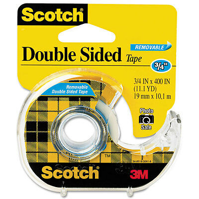 667 Double-Sided Removable Tape and Dispenser, 3/4'' x 400''