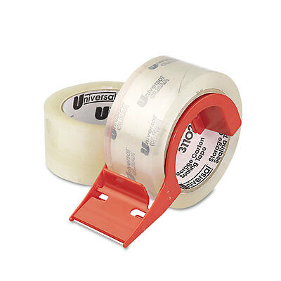 Heavy-Duty Acrylic Box Sealing Tape w/Disp, 48mm x 50m, 3'' Core, Clear, 2/Pack
