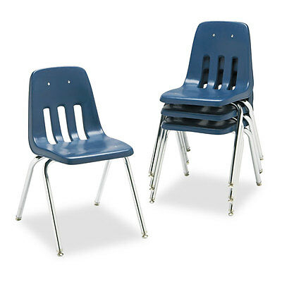 9000 Series Classroom Chair, 18'' Seat Height, Navy/Chrome, 4/Carton