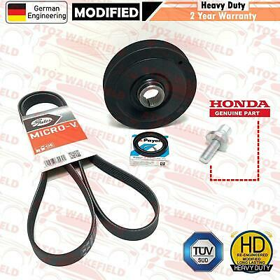 FOR HONDA ACCORD CIVIC CRV FRV 2.2 CDTi DIESEL CRANK SHAFT PULLEY + BELT + SEAL