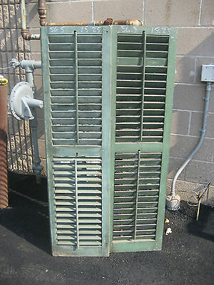 "c1900 PR victorian louvered house SHUTTERS green 56.5"" high & 15.25"" w x 1 1/8"""
