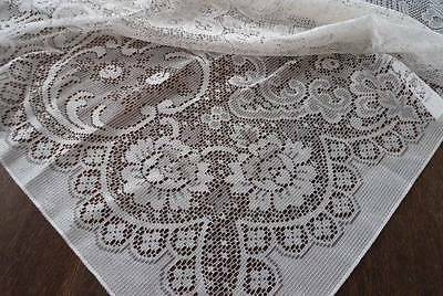 Vintage Ecru Embroidered Lace Tablecloth Art Deco Floral 100""