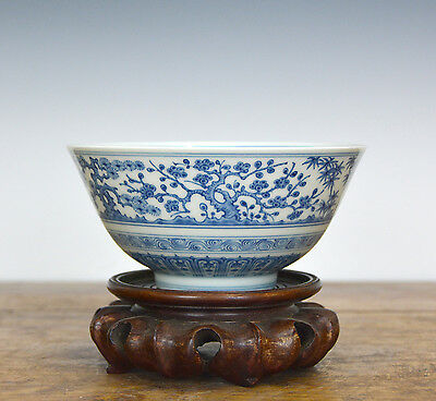 Important Antique Superb Chinese Ming Chenghua MK Blue and White Porcelain Bowl