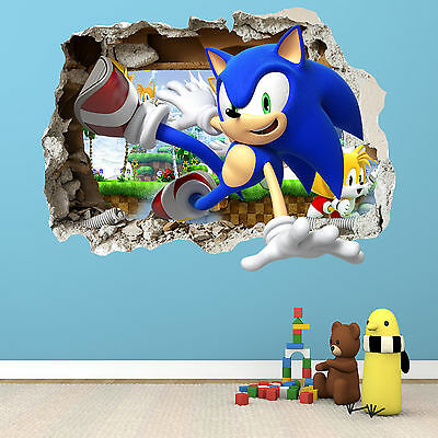 Sonic The Hedgehog Smashed Wall Sticker - Bedroom Boys Girls Vinyl Wall Art