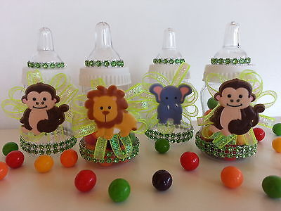 12 Fillable Bottles Baby Shower Favors Prizes Games Safari Jungle-Noah's Animals