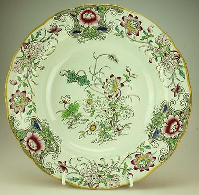 Antique Ironstone Ashworth Bros Royal Arms China Soup Bowl Multi Floral Pattern
