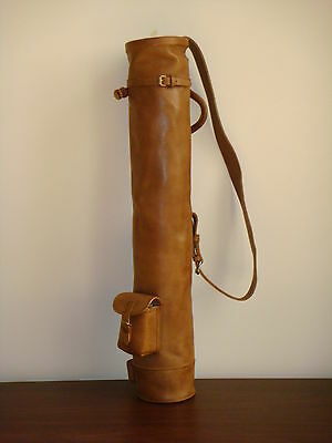 Geoffrey | VINTAGE TAN LEATHER GOLF CLUB CARRYING BAG | RETRO