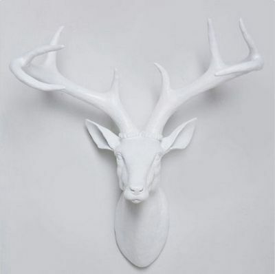 Funky LARGE White Stag / Deer Head - wall mounted approx W:420mm H:420mm