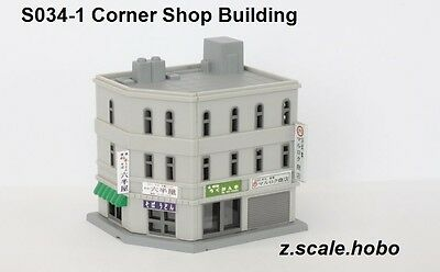 Rokuhan s034-1 Z Scale Pre-Built Corner Building Structure Downtown *NEW $0 SHIP