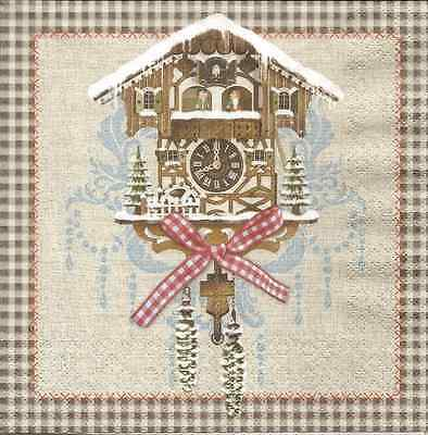 4 Single Paper Napkins for Decoupage Cuckoo Clock Christmas Vintage