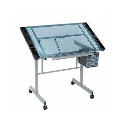 Drafting Drawing Craft Table Art Hobby Glass Desk Adjustable Folding Workstation