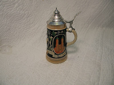 "Munchen Frauenturme Hofbrauhaus 6"" Beer Mug/Stein  - Germany with lid,Excellent"