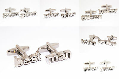 Mens Wedding Cufflinks Groom Best Man Brides Grooms Brother 3D Silver Plated