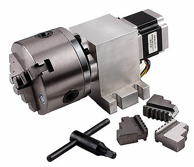 CNC L-type  4th-Axis Router Rotational Rotary A-Axis 3 Jaw 80MM Chuck