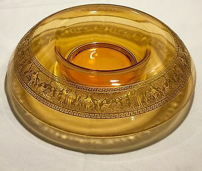 Vintage Art Deco Glass Classical Heavy Gold Band Amber Rolled Centerpiece Bowl