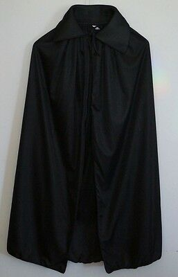 Adult Black Cape Cloak Robe Halloween Vampire Witch Wizard Fancy Dress Costume