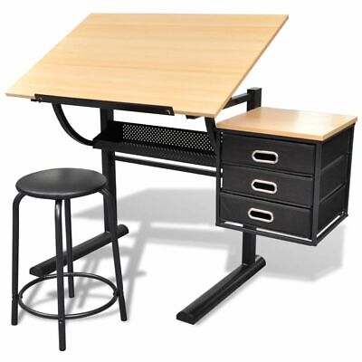 Tiltable Tabletop Drawing Table with Stool Home Office with Three Drawers