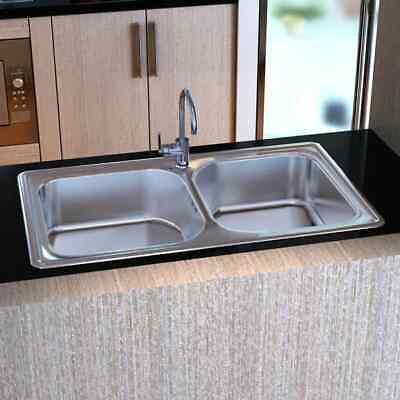 New High Quality Square Kitchen Sink Stainless Steel with & Drain Double Bowl