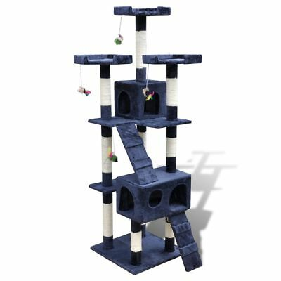 New Cat Tree Cat Scratching Post Cat Toy Activity Bed 170 cm 2 Condos Dark Blue