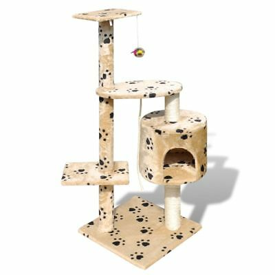 New Cat Tree Cat Activity Scratching Post 114 cm 1 Condo Beige with Pawprints