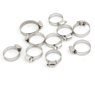 Adjustable 12mm Width Worm Drive Hose Clamp Silver Tone 10 Pcs