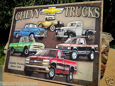 CHEVY TRUCKS Rustic Collectible Tin Metal Classic Sign Poster Garage Shop GM