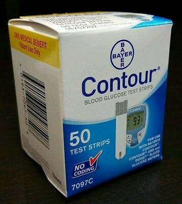 50 Bayer's CONTOUR (7097C) DME Glucose Test Strips  NCD# 0193-7097-50