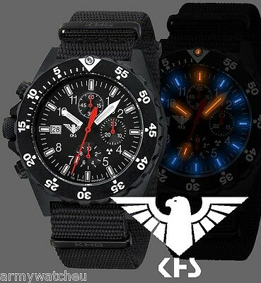 Military Watches  German KHS Tactical Watches  Shooter H3 Chronograph Army Band