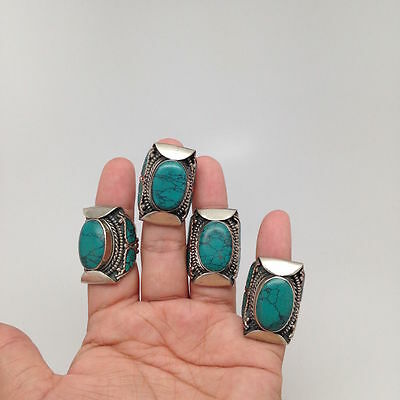 Vintage Tribal Oval Nepalese Green Turquoise Inlay Ring Handmade German Silver