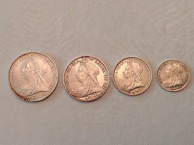 - Great Britain 1894  Victoria Silver Maundy Set – Choice uncirculated