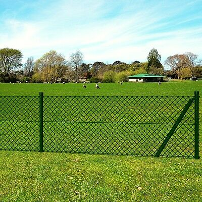 New Chain-Link Fence Set with Posts Spike Anchors & Other Fittings 0,8 x 15 m