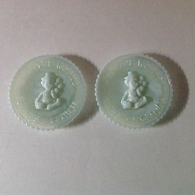 Vtg. Mosser Glass Pair Of Opalescent 3d All The World Loves A Clown  Mini Plates