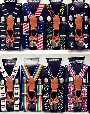 Boys Kids Children Party Costume Wedding Elastic 4 Clip on Suspender Brace Belt