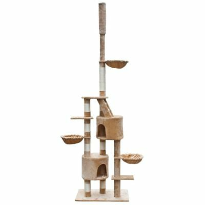New Cat Play Tree Scratcher Post Bed Tower Cuddles XL 230 - 260 cm Plush Beige
