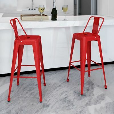 New Steel Bar Chair High Chairs Home Bar Furniture Stools Square Back 2 pcs Red