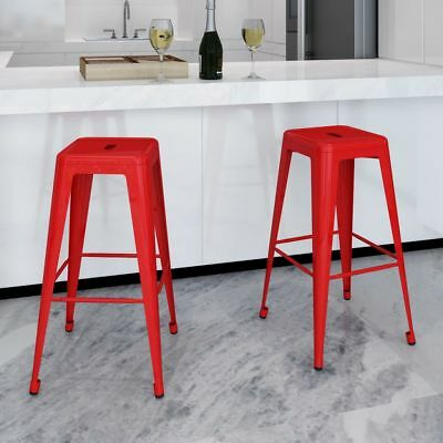 New Metal Steel Bar Chair High Chairs Bar Stools Furniture Square 2 pcs Red