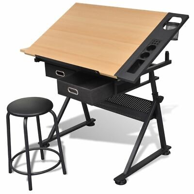Tiltable Tabletop Drawing Table with Stool Home Office Durable with Two Drawers