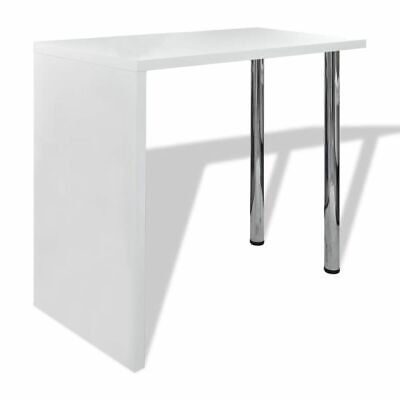 New Home Dining Bar Table Coffee Bar Table Side Table Counter 2 Steel Legs White