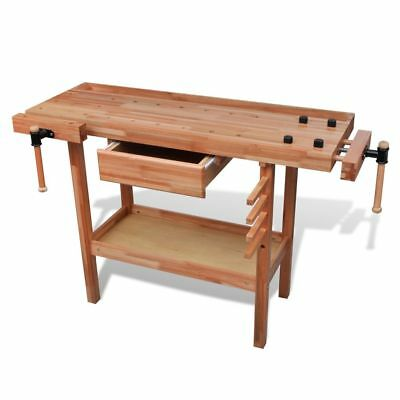 New Hardwood Carpentry Workbench Work Bench Table Desk DIY Workshop Tool Storage