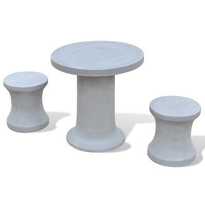 New Solid Concrete Furniture Set 1 Table 2 Stools Outdoor Garden