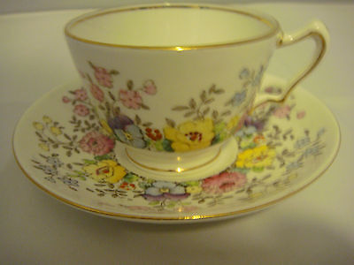 Crown Staffordshire Fine Bone China Cup & Saucer Spring Flowers Made in England