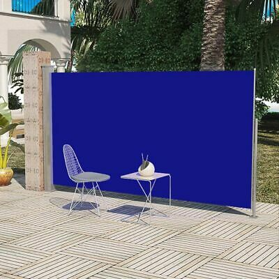 New Patio Terrace Side Awning 180 x 300 cm Blue Steel Automatic Roll-back