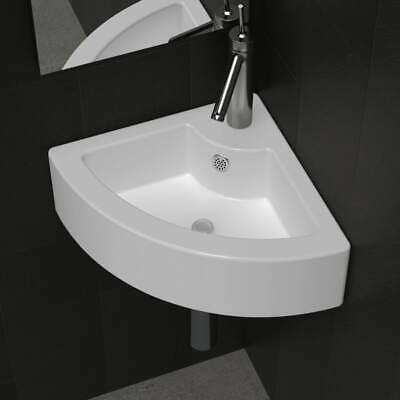 Bathroom Ceramic Basin Vessel Sink Corner Basin White Faucet & Overflow Hole