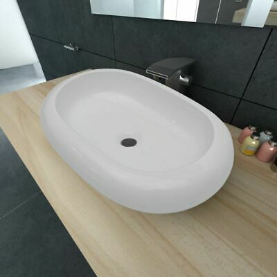Bathroom Ceramic Basin Vessel Sink Wash Basin Oval Shaped White 63 x 42 cm